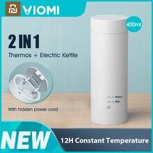 Viomi garrafa térmica elétrica copo portátil garrafa térmica de aquecimento aço inoxidável caneca para chá café chaleira viagem 400ml