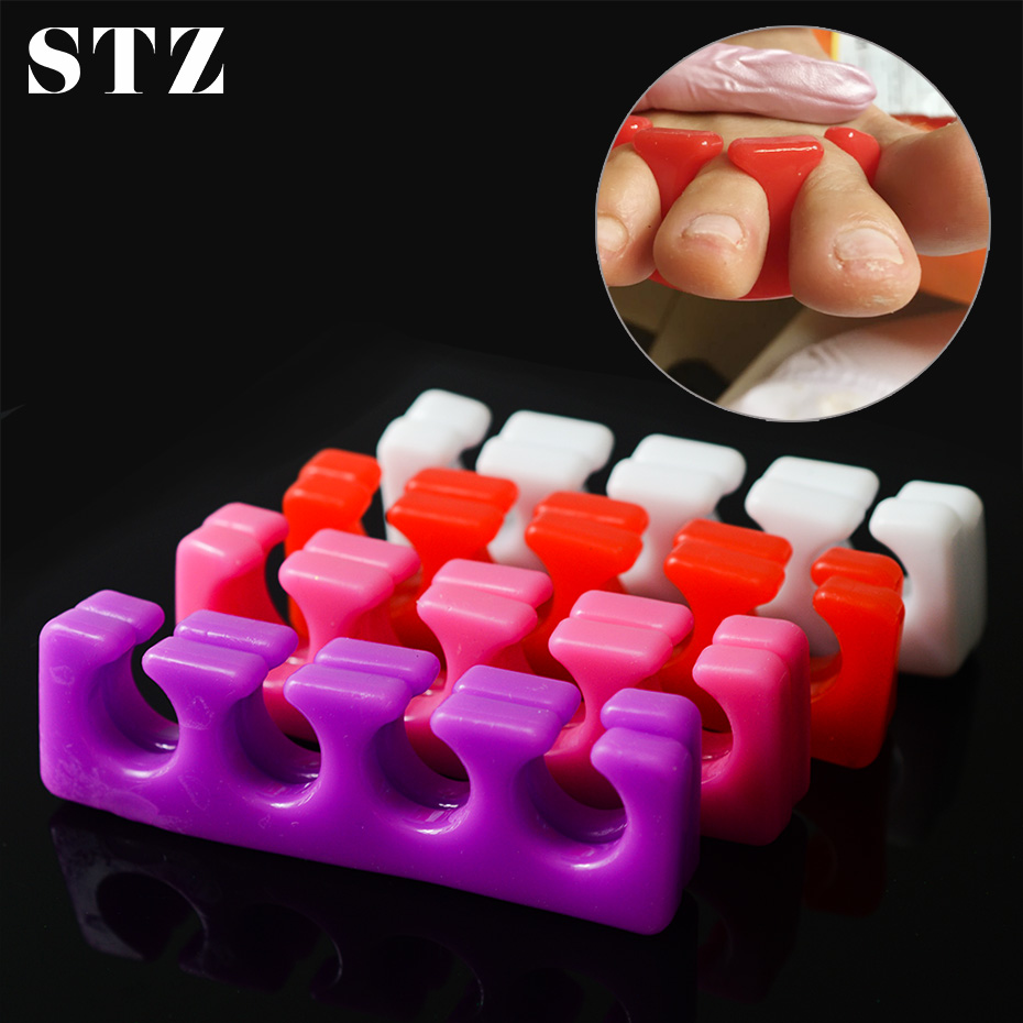 STZ 2pc Soft Silicone Nail Art Toes Separators Washable Finger Foot Divider Holder UV Gel Polish Painting Pedicure Manicure #361