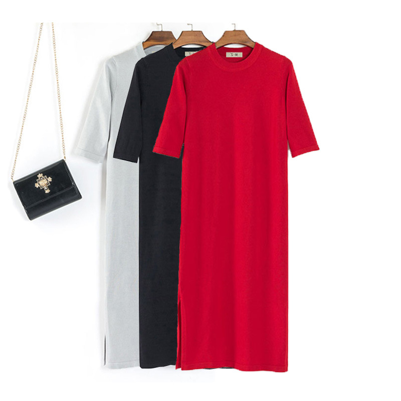 Viscose Large Size Knitted T-shirt Dress Women's Half-sleeve Shirt Straight-Cut Slimming Summer Thin X-long Spring And Autumn Dr