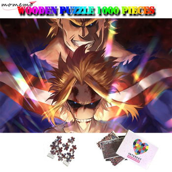 MOMEMO Anime Puzzle 1000 Pieces My Hero Academia Wooden Jigsaw Puzzles Cartoon Puzzle Games Toys All-Might Midoriya Bakugou