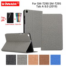 купить For Samsung Galaxy T290 Tab A 8.0 2019 case linen grain PU leather Stand Protective Case TPU Cover for Samsung SM-T295 Coque дешево