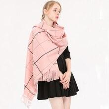 SH008 Women Scarf Ladies Thick Warm Winter Female Plaid Soft Cashmere Pashmina Wraps Shawls Tassels Long