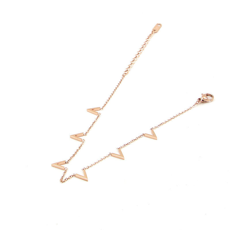 Fashion Jewelry 6 V Letter Rose Gold Anklet Titanium Steel Foot Chain Woman Jewelry Anklet Length 20cm + 5cm 3