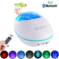 Ocean Wave Starry Sky Projector LED Night Light With USB Remote Control Bluetooth 5.0 Music Player Novelty Lamp Decoration