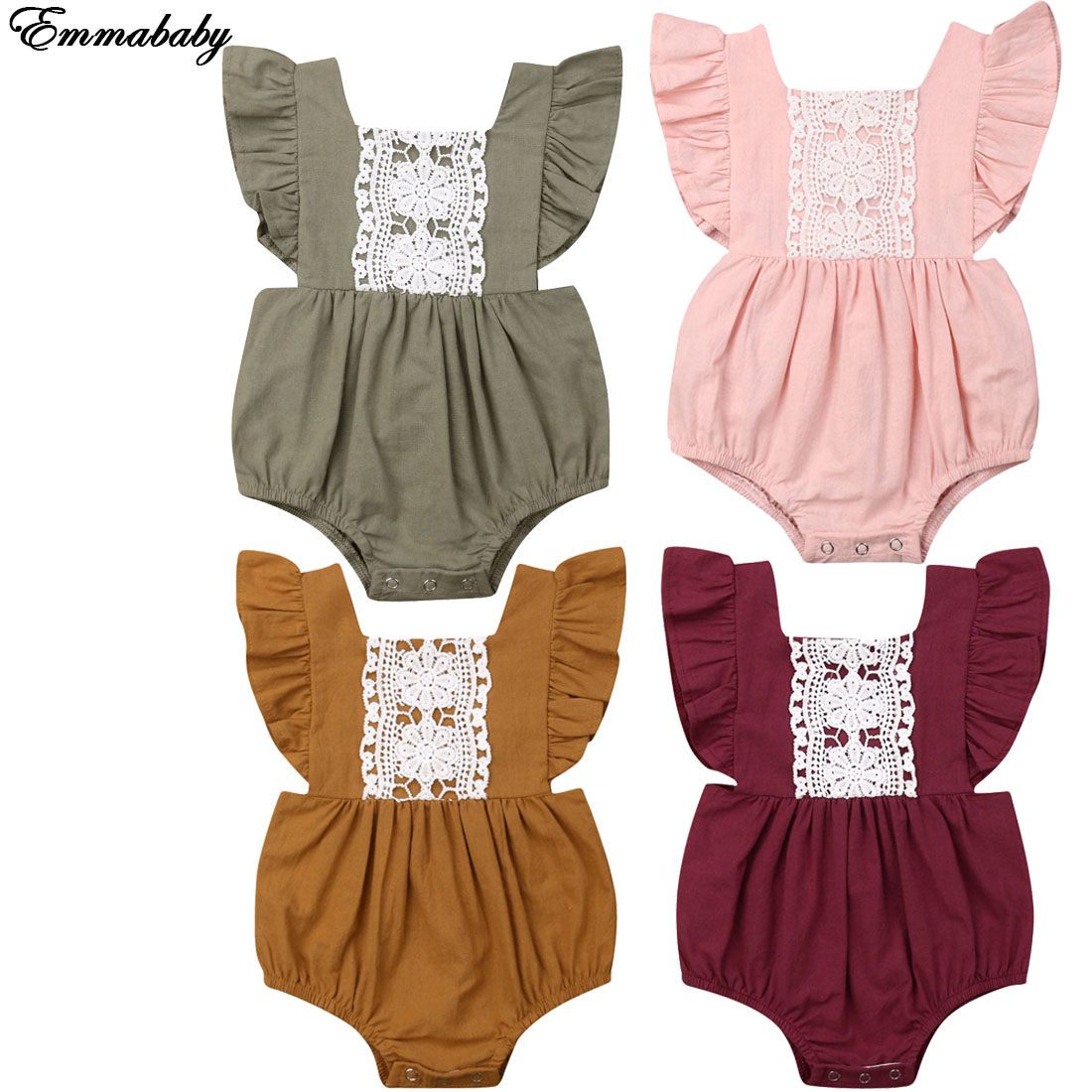 NEW 2020 Newborn Toddler Kids Baby Girl Clothes Sister Matching Lace Sleeves Romper Outfits Set