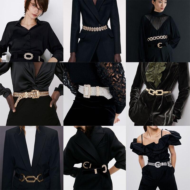2020 Newly ZA Belt Vintage Geometric Metal Belt Elegant Velvet Leather Belts Chain Women Dress Accessories Jewelry Wholesale
