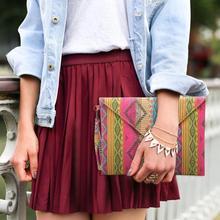 Canvas Purse Wristlet-Bag Envelope Party-Clutch Ethnic-Style Vintage Women Ladies Sac