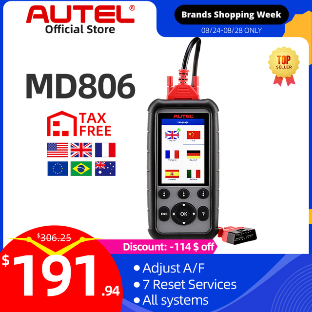 Autel MaxiDiag MD806 EOBD Car 4 System Diagnostic Tool 7 Reset Function DPF OBD OBD2 Scanner Code Reader PK MD802 MD808 CRP129