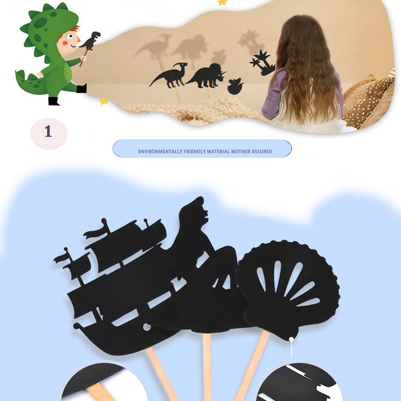 12pcs Kids Fairy Tale Story Shadow Puppets Imagination Mermaid Educational Toys for Children Interesting Projection Art Game Set image