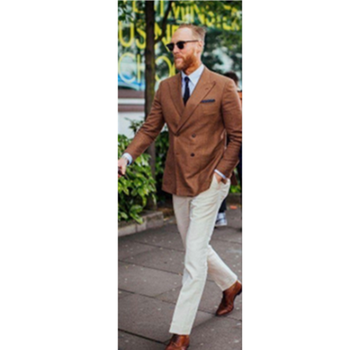 brown double breasted linen Men Suit 2019 Slim Fit 2 Pieces Beach ivory Wedding mens suits Tuxedo Terno Masculino (Jacket+Pants)