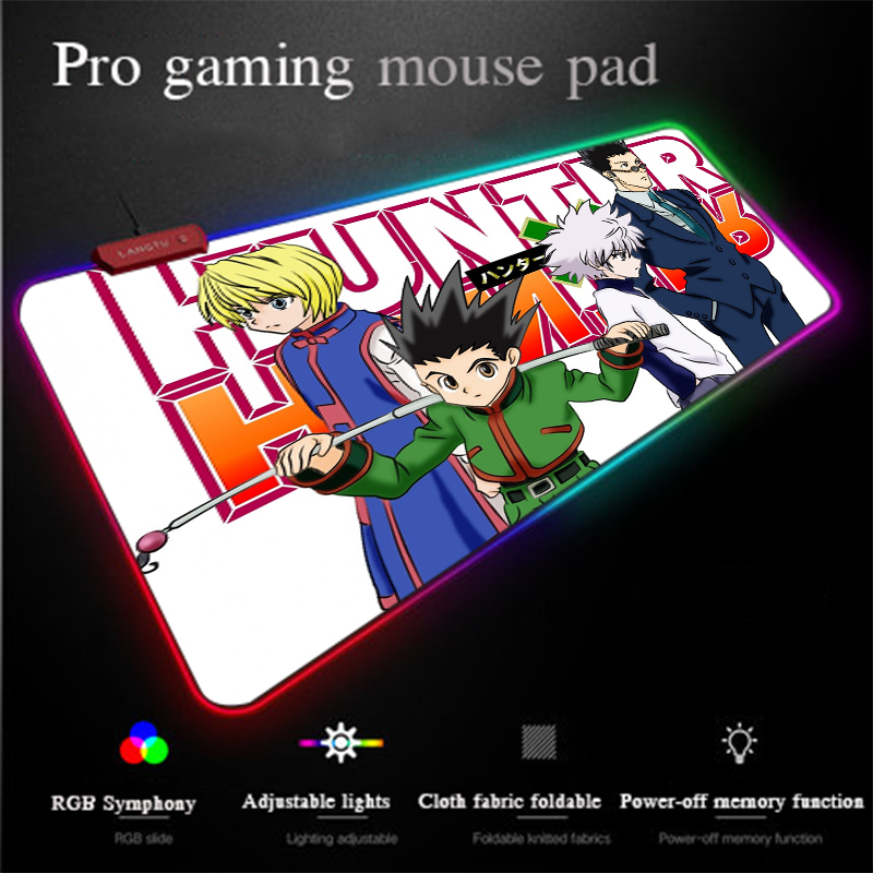 Yuzuoan Custom RGB Gaming Mouse Pad Full-time Hunter HD Office Computer Pad LED Lighting Locking-edge Thick Carpet Mat Universal