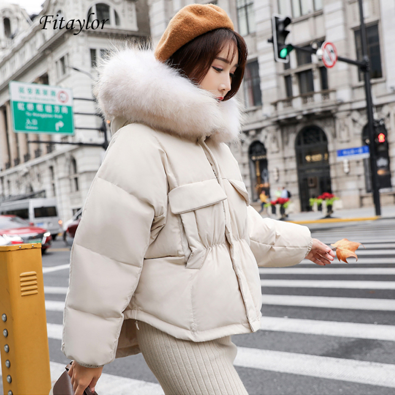 Fitaylor Winter Warm 90% White Duck   Down   Parka Women Large Real Raccoon Fur Collar Hooded Short Jacket   Coat   Loose   Down   Outwear