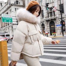 Fitaylor Winter Warm 90% White Duck Down Parka Women Large Real Raccoon Fur Coll