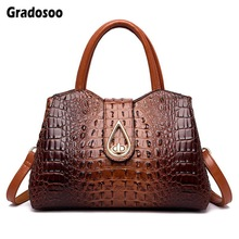 Gradosoo New Corcodile Women Handbag Luxury Shoulder Bags For Crossbody Female Brand Design Leather LBF637
