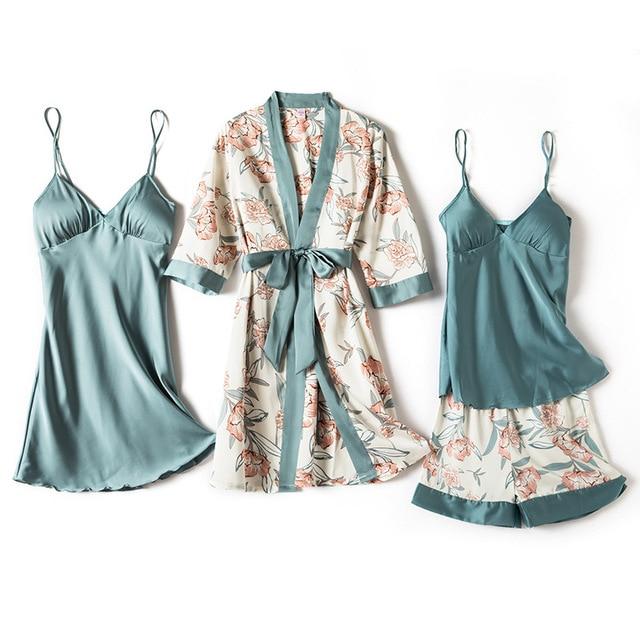 4 Piece Satin Touch Pajama Set 1