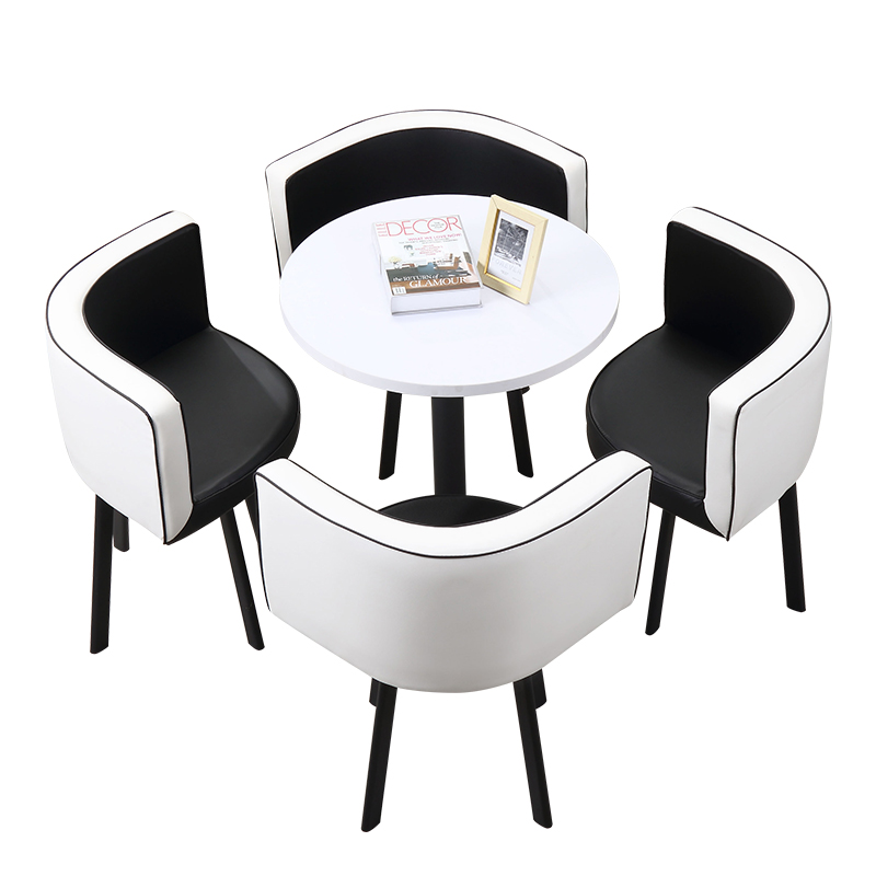Negotiation Table And Chair Combination Ins Simple Small Round Table Leisure Reception Desk And Chair Modern Shop Parlor