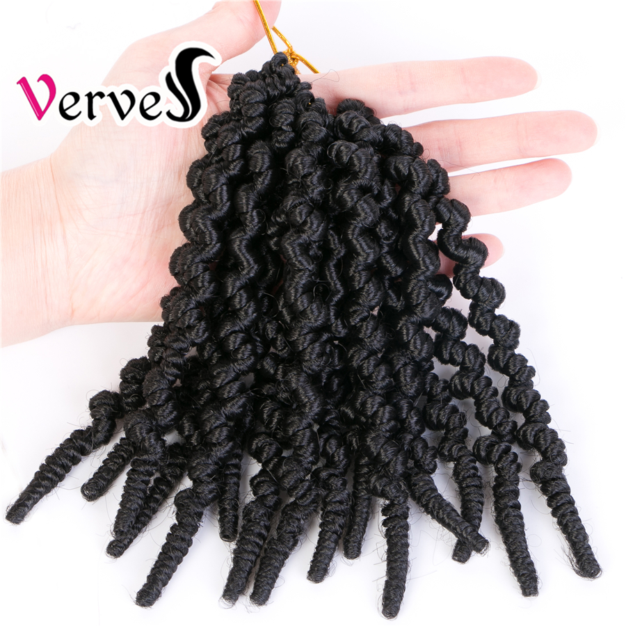 VERVES Passion Twists 8 inch Crochet Hair Spring Pre-twisted Bomb Braid 15 Roots Synthetic Braiding Hair Extensions Ombre Bug image