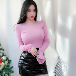 new Spring Lady Black Solid red turtleneck sexy Slim Fit Tee Women Highstreet Casual Long Sleeve Tshirt Tops female girl t shirt