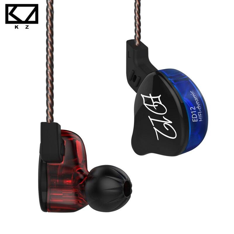 Плотным верхним ворсом KZ ED12 1DD наушники с функцией превосходной передачи басов с кабельным управлением пшеницы Музыка мобильный телефон га...