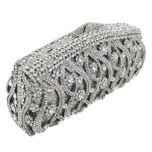 Image 2 - Boutique De FGG Hollow Out Crystal Women Clutches Evening Bags Wedding Party Cocktail Metal Minaudiere Diamond Handbag and Purse