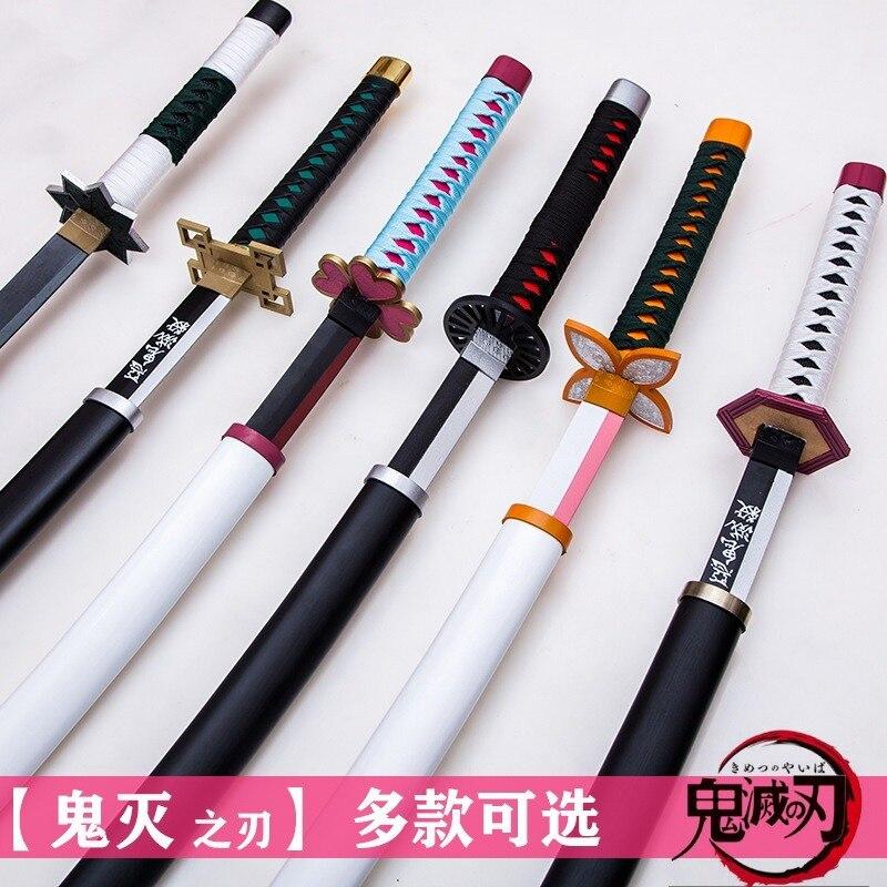 Wooden Sword Weapon Demon Slayer Kimetsu No Yaiba Tokitou Muichirou Cosplay Espada Sword Prop Wood Ninja Knife Katana Teens Toys
