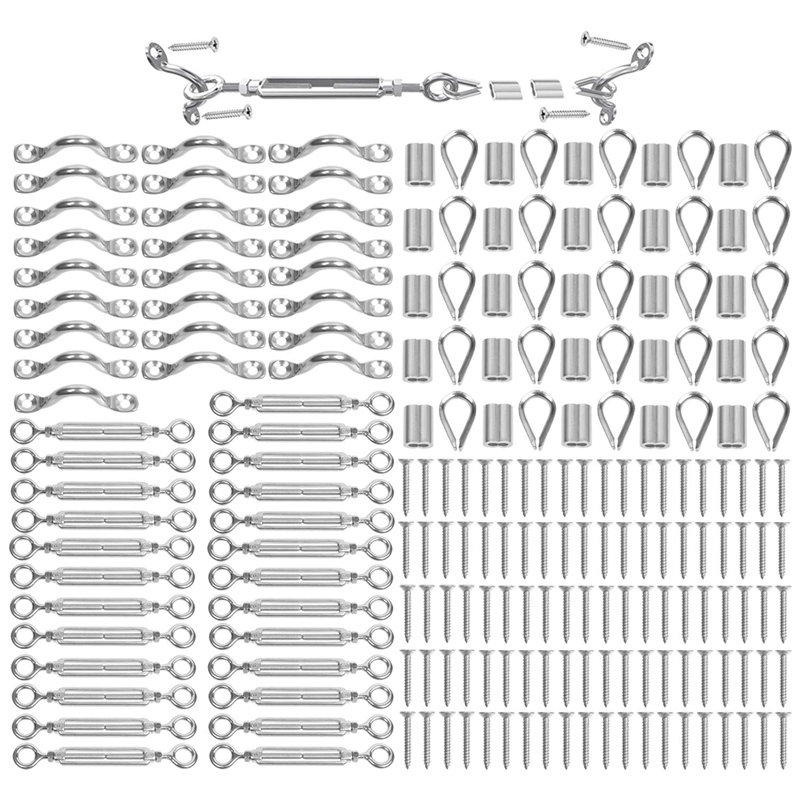Hot 25 Pack Heavy Duty T316 Stainless Steel Cable Railing Kits For Wood Posts DIY Balustrade Kit With Jaw Swage Fork Turnbuckle