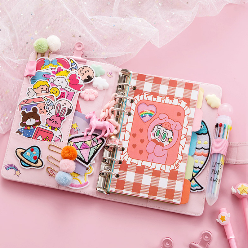 Kawaii PU Planner Notebook Pink A6 Spiral Notebook Planner Organizer Binder Diary Bullet Journal Notebook