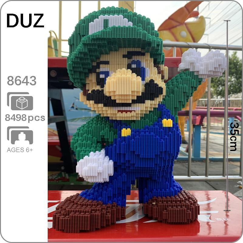 DUZ 8643 Game Super Mario Luigi Green Figure 3D Model 8498pcs DIY Mini Building Blocks Bricks Toy For Children 35cm Tall No Box