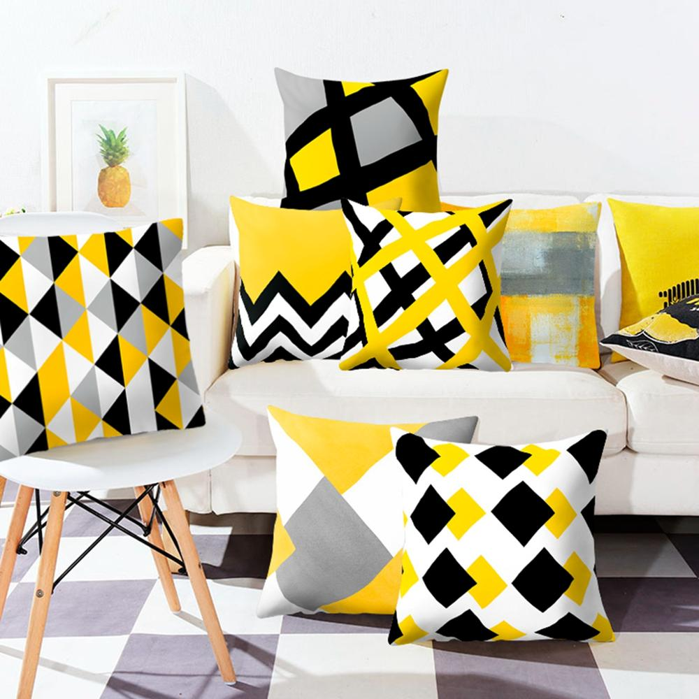 Yellow Geometric Cushion Cover Sofa Decorative Cushions Pillow Cover Home Decoration Pillow Case Hawaiian Tropical Summer Cover
