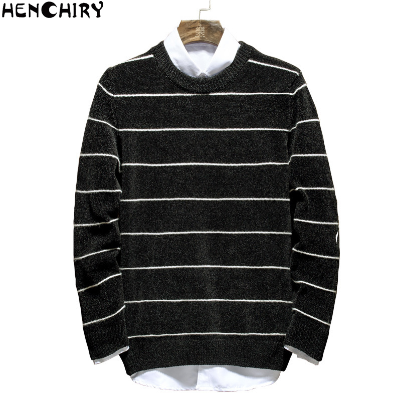 HENCHIRY New Autumn Winter Oversize Men'S Sweater 2019 Sweaters For Men Sweater Men Lattice Casual Men's Shirt Brand Knitte Fila