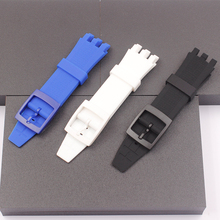 The New! For Swatch Swatch YNS4001 Watch Rubber Strap White Black Silicone Watch with 21mm Watch Accessories swatch watch skin series fashion black and white quartz watch syxs100