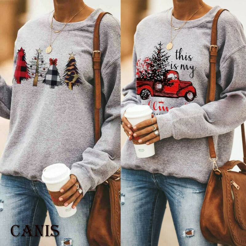 Yinella Women Fashion Merry Christmas Graphic Pullover Hoodies Sweatshirt Casual Long Sleeve Hooded Tops Shirts Sweaters