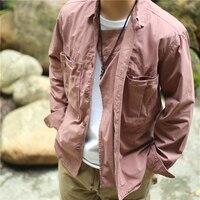 men shirts Japanese big pocket tooling jacket Pure cotton design sense retro loose top shirt Washed retro old coat jacket