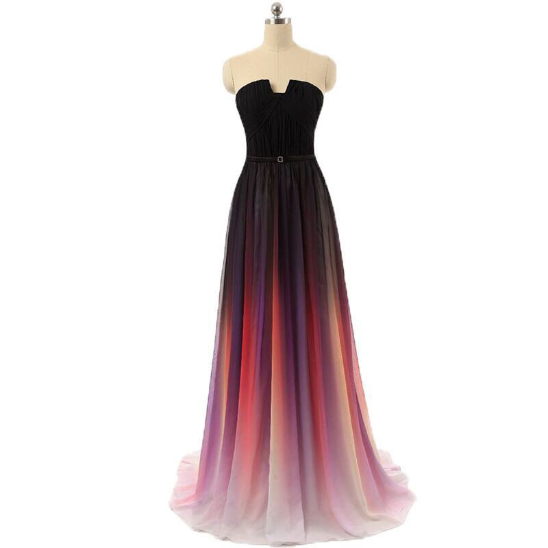 Hot Sale Ombre 2020 Gradient Gala Dress Sexy Strapless Long Evening Gowns Rainbow Pleated Chiffon Vestidos De Formatura