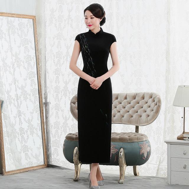 2019 Vestido De Debutante New High Fashion Sleeveless Walk Show Velvet Cheongsam Long Retro Improved Fit Factory Direct Dress