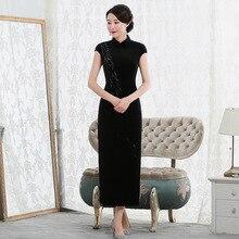 2019 vestido de debutante nova moda alta sem mangas caminhada mostrar veludo cheongsam longo retro melhorado ajuste direto da fábrica vestido