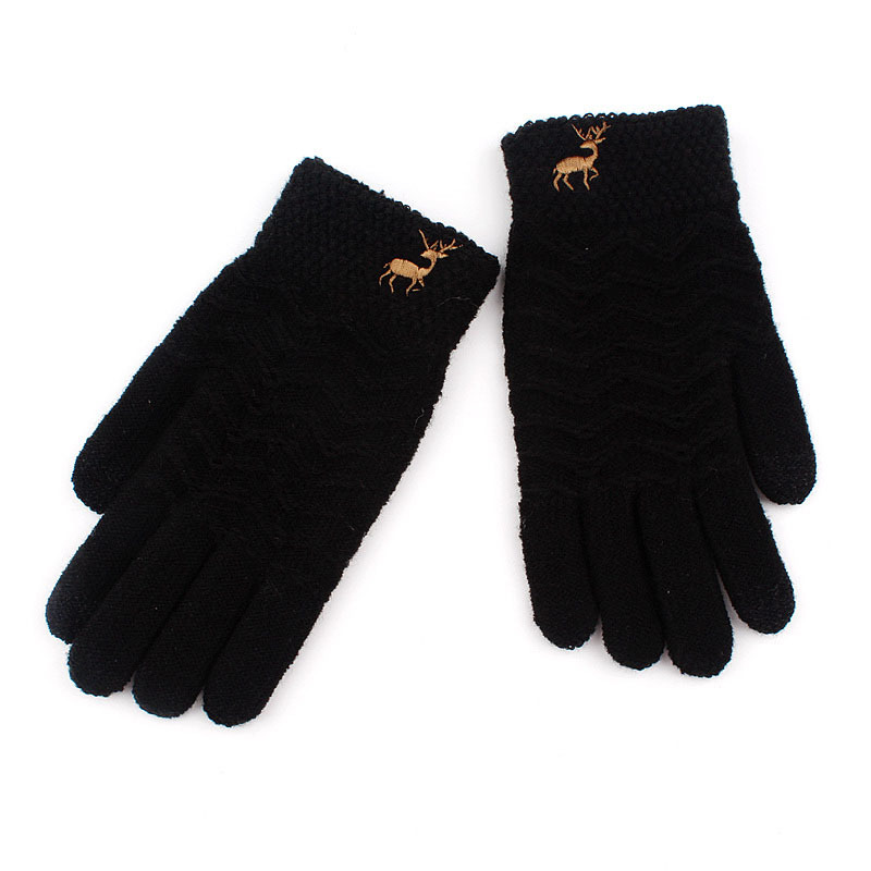 Gloves Winter Women Touch Gloves With Deer Black Solid Mittens Ourdoor Driving Thermal Knitted Gloves Luvas De Inverno Female