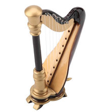 Hot HG-Wooden Mini Harp Replica And Gift Box Mini Harp Model Mini Musical Instrument Home Decor Musical Instrument Model 9Cm(China)