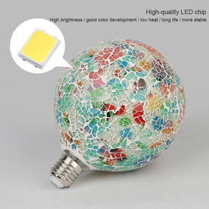 Image 4 - Classic design LED colorful light bulb chandelier mosaic color gold plated glass mirror ball chandelier