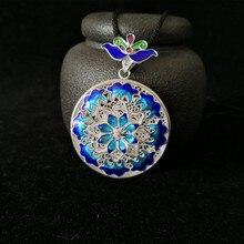 Blue Steampunk 999 Sterling Silver Pendant Chakra Women Wicca Pendants Cloisonne Enamel Handmade Luxury Jewelry Vintage Round