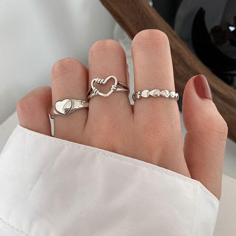 XIYANIKE 925 argent Sterling rétro amour coeur creux anneau ouvert femme INS tendance doux Sexy élégant fait à la main Hip-hop mode anneau 3