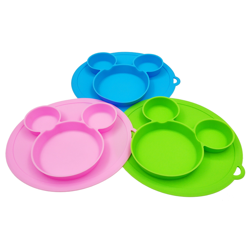Baby Safe Silicone Dining Plate BPA Free Solid Children Dishes Suction Baby Training Tableware Cute Cartoon Kids Feeding Bowls