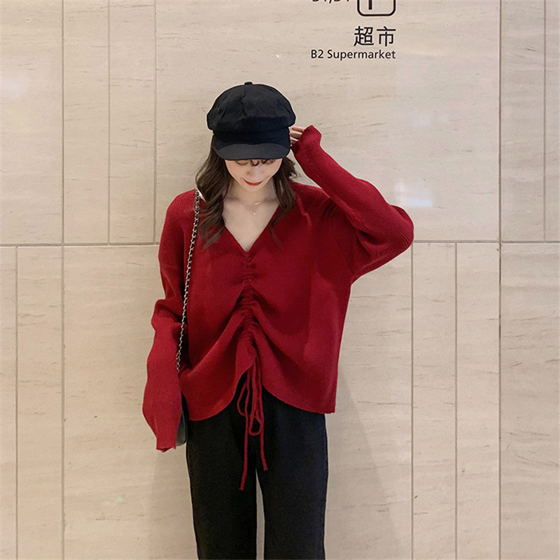 Focal20 Streetwear Drawstring Solid Women Sweater Top Loose V Neck Female Pullovers Jumpers Oversize Autumn Lady Sweaters Tops