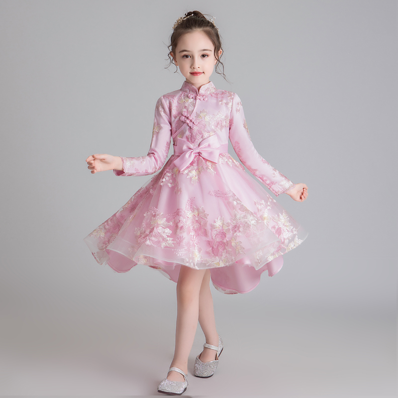 Chinese Style Dress Flower Girl Dress Wedding Dress Birthday Dress Pageant Dresses Lace Embroidery Princess Vestido Chines 2020