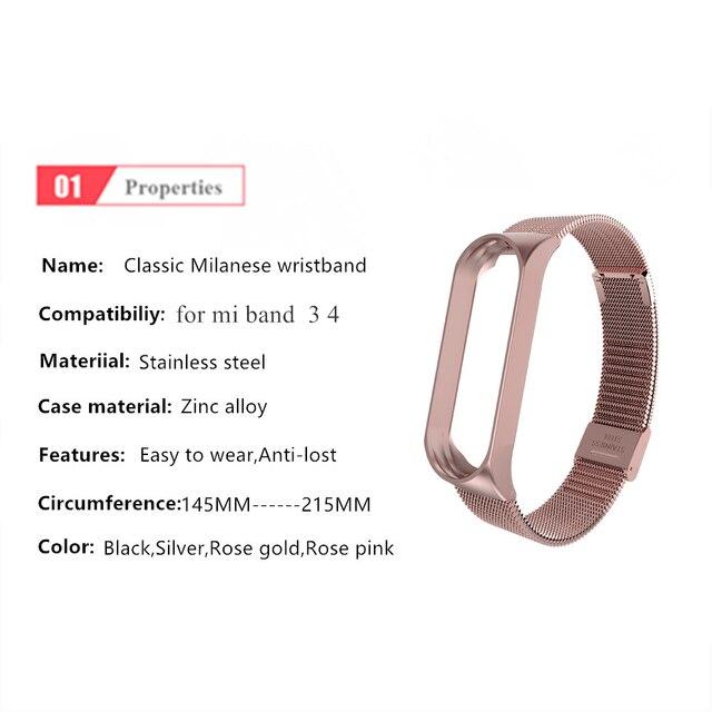 Strap For Xiaomi Mi Band 3 4 Wrist Metal Bracelet Screwless Stainless Steel for Xiaomi Mi Band 4 3 Strap Wristbands Pulseira 1