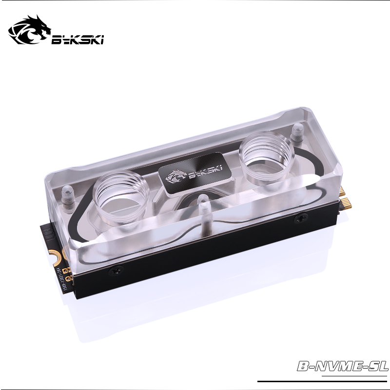 BYKSKI Memoy Block M.2 For SSD Hard Disk Copper + Transparent Acrylic Water Cooling System Radiator