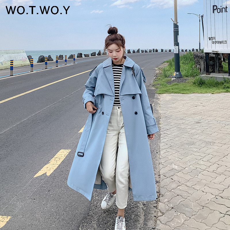 WOTWOY 2019 Autumn Winter Casual Women Trench Coat Fashion Double Breasted Belt Female Turn-Down Collar Long
