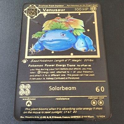 Покемон Игры Аниме битва карта золотая металлическая карточка Чаризард Пикачу коллекция карточная фигурка Модель Детская игрушка подарок - Цвет: Venusaur H