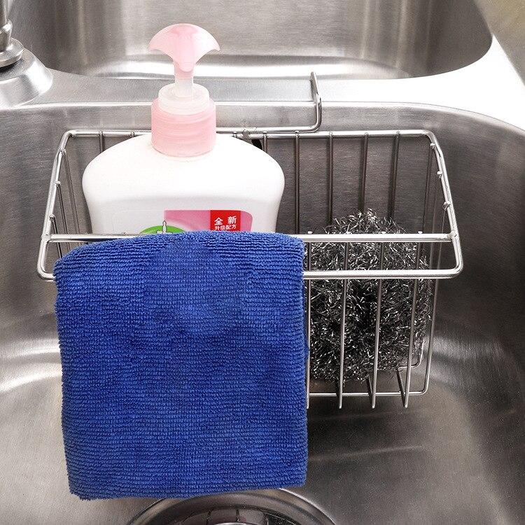 304 Edelstahl Ablauf Korb Küche Doppel Waschbecken Waschen Karte Hängenden Korb Waschmittel Scheuer Pad Reinigung tuch Ablassen Sie