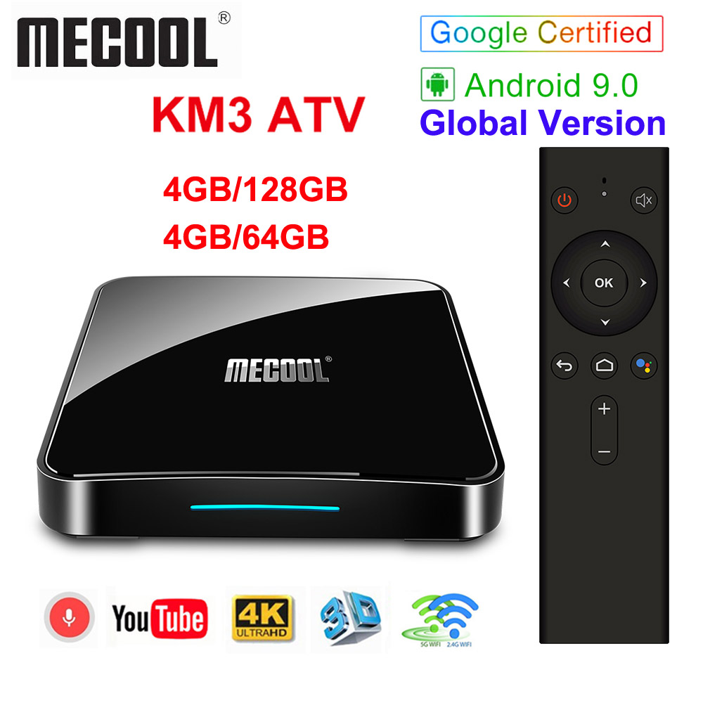 Google Certified MECOOL KM3 ATV Androidtv 9.0 4GB 64GB 32GB KM9 PRO Android 9.0 TV Box Amlogic S905X2 4K 2.4G 5G Dual Wifi BT4.0